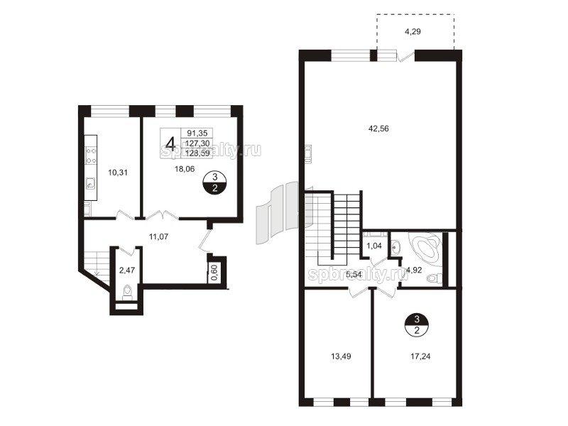 Планировка Четырёхкомнатная квартира площадью 136.6 кв.м в ЖК «Амазонка»